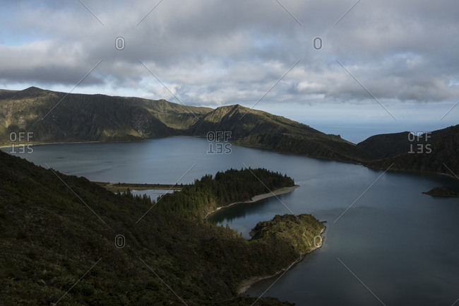 Elevated view over Lagoa do Fogo