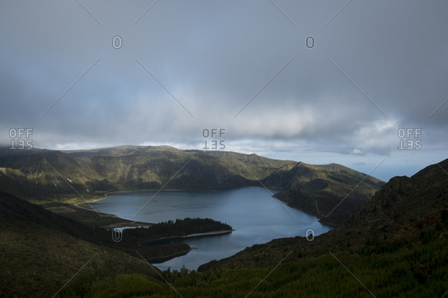 Elevated view over Lagoa do Fogo, Sao Miguel, Acores, Portugal