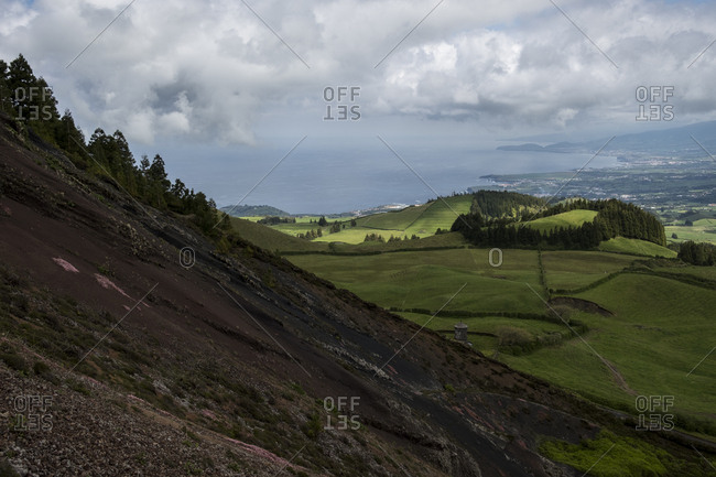 Sao Miguel seen from a volcanic hill