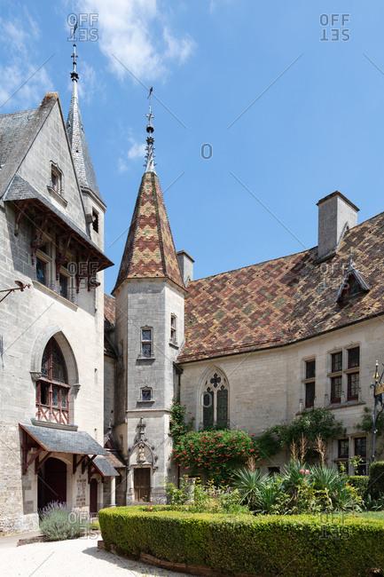 Burgundy, France - July 8, 2018: Old medieval Rochepot castle in Burgundy, France