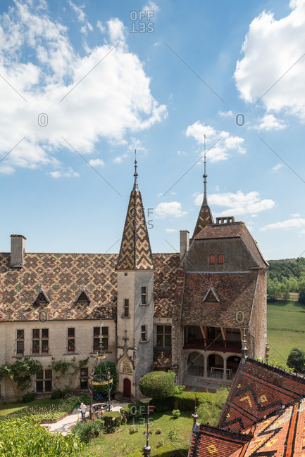 Burgundy, France - July 8, 2018: Chateau de la Rochepot, Burgundy, France
