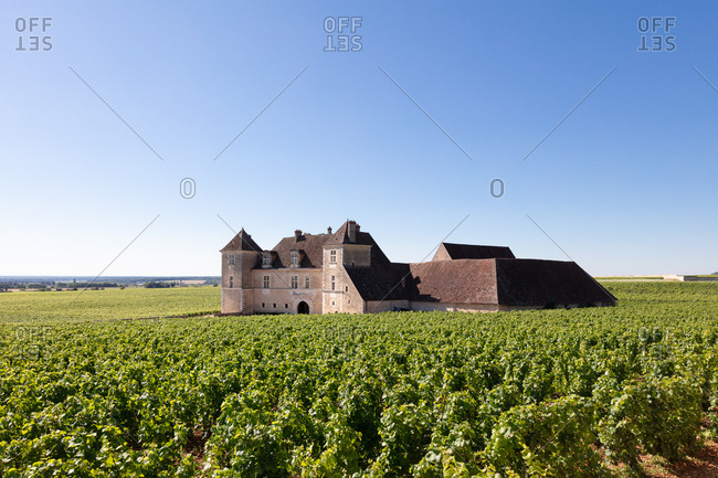 Burgundy, France - July 9, 2018: Castle of Clos de Vougeot in Burgundy, France