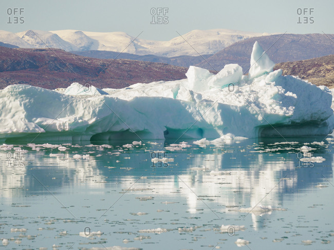 Iceberg in the Pakitsoq Fjord System, in the background the Nuussuaq Peninsula. Greenland, Denmark