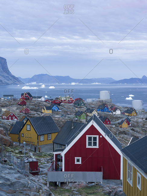 Greenland - August 24, 2017: Small town of Uummannaq, northwest Greenland.
