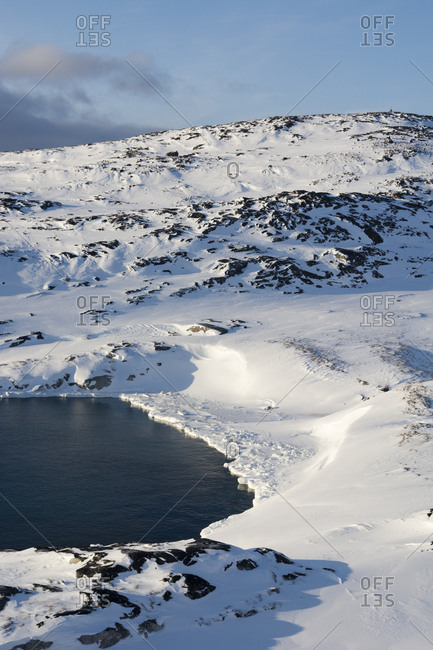 View of Ilulissat icefjord, UNESCO World Heritage Site, Greenland.