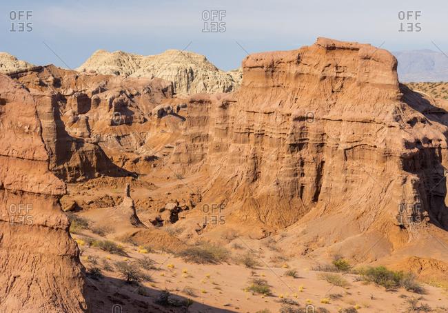 Quebrada de las Conchas also called Quebrada de Cafayate. Canyon with colorful rock formations created by Rio de las Conchas, Argentina.