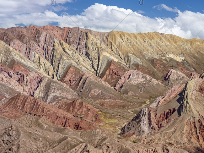 Iconic rock formation Serrania de Hornocal in the canyon Quebrada de Humahuaca, listed as UNESCO World Heritage Site, Argentina.
