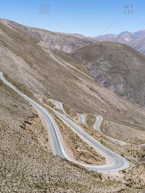 National Road RN 52, the mountain road Cuesta del Lipan climbing up to Abra de Potrerillos, Argentina.