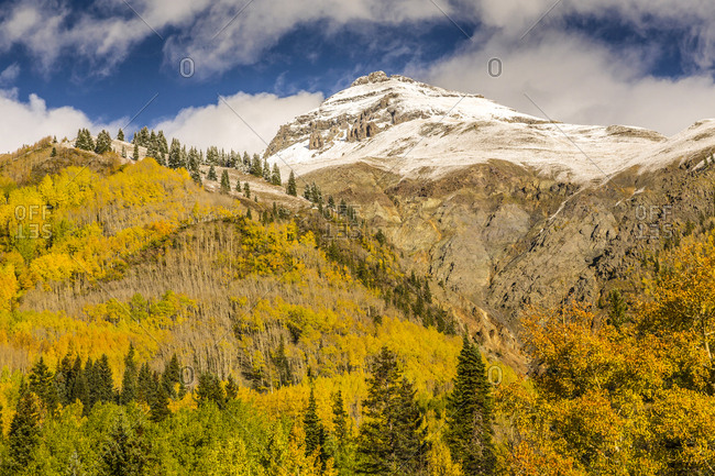 USA, Colorado, Red Mountain Pass. Mountain and forest in autumn.