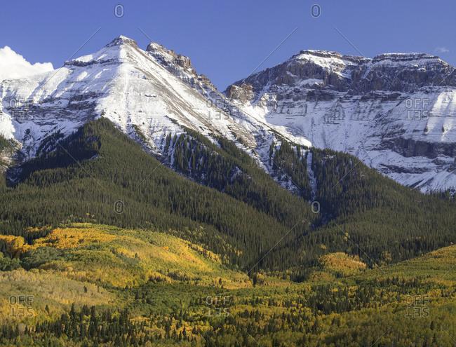 USA, Colorado, San Juan Mountains. Mountain and valley landscape.