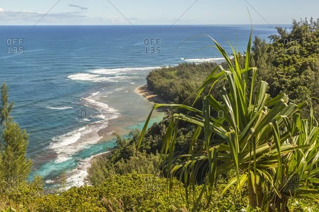 USA, Kauai, Coast. Coastline and ocean landscape.
