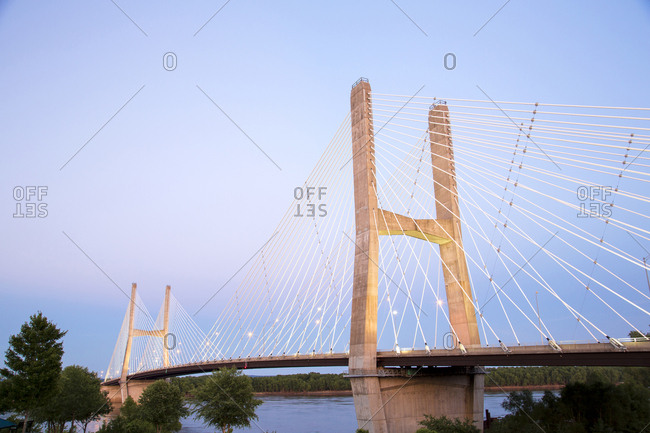 Bill Emerson Memorial Bridge at night over Mississippi River, Cape Girardeau, Missouri