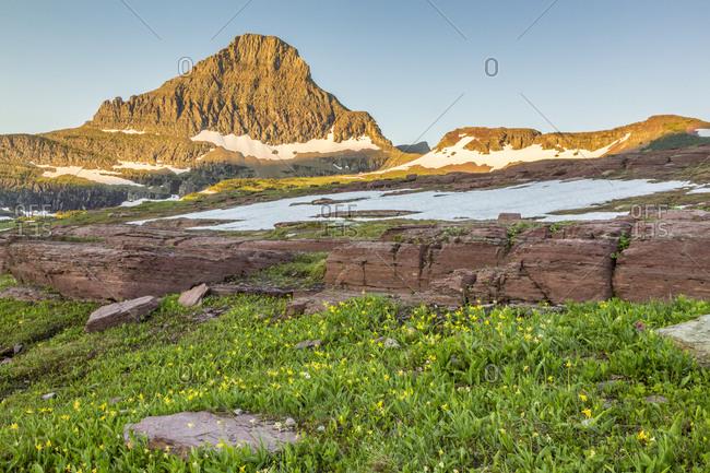 USA, Montana, Glacier National Park. Reynolds Mountain at sunrise.