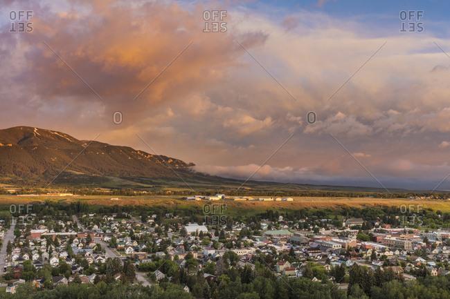Morning light greets Red Lodge, Montana, USA