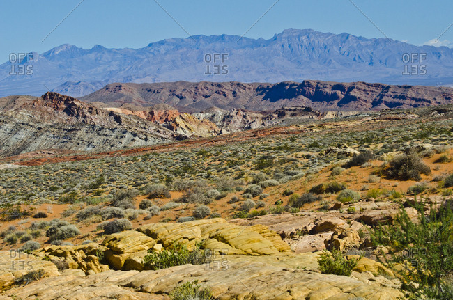 USA, Nevada, Valley of Fire State Park. Mouse Tank Road looking north