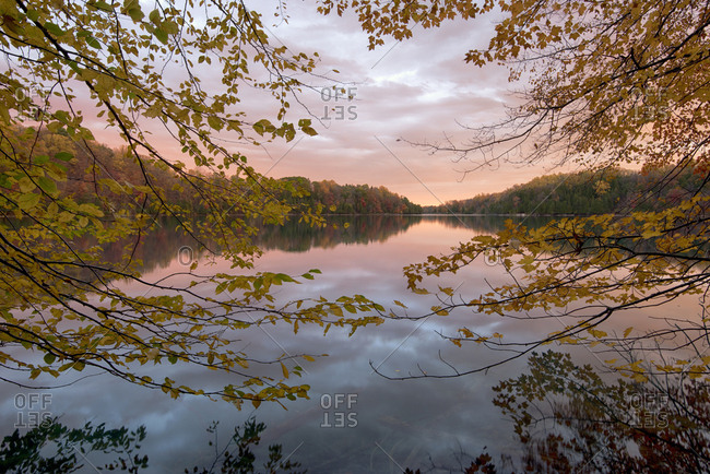 USA, New York State. Calm autumn morning on Green Lake, Green Lakes State Park.