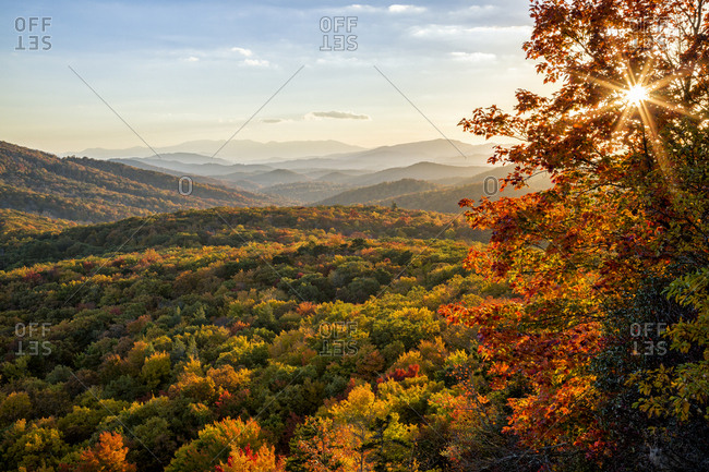 USA, North Carolina, Blue Ridge Parkway. Autumn sunset from Beacon Heights