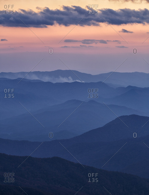 USA, North Carolina, Great Smoky Mountains National Park. dusk in autumn from Clingmans Dome