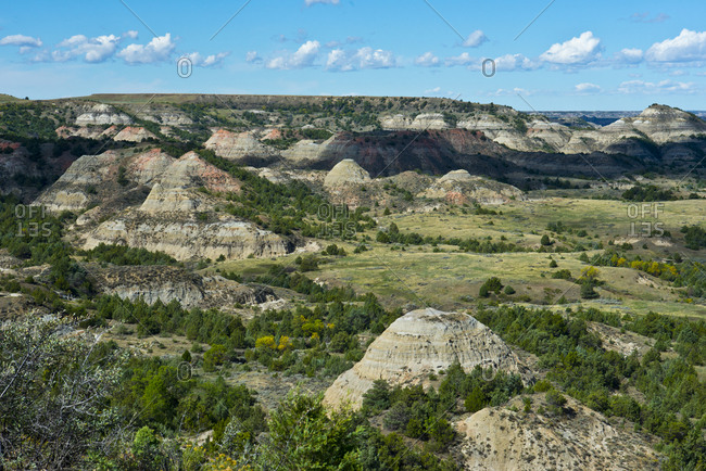 USA, North Dakota, Medora. Theodore Roosevelt National Park, South Unit, Painted Canyon Overlook