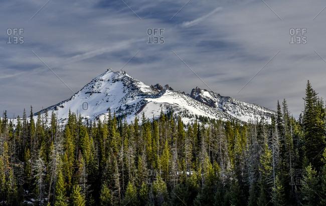 Deschutes National Forest, Oregon, USA. Broken Top in fresh snow.