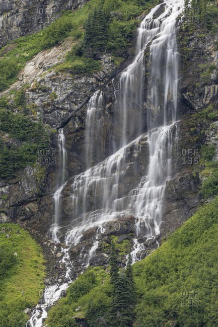 Waterfall flowing into Rainy Lake, Washington State, North Cascades National Park