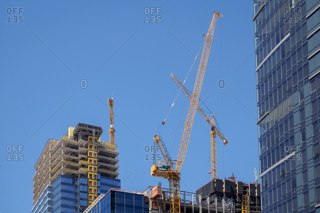 USA, North America, Washington - July 27, 2016: Skyscraper construction and crane.