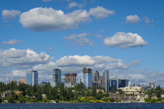 USA, Washington State, Bellevue. Skyline view from Lake Washington.
