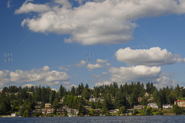 USA, Washington State, Bellevue. Residential neighborhood overlooking Lake Washington.
