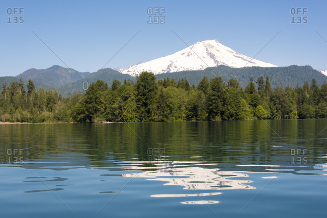 USA, Washington State. Gentle ripples on calm Baker Lake reflects Mt. Baker. View from Anderson Point Campground