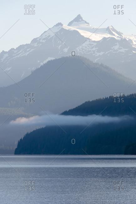 USA, Washington State. Morning calm Baker Lake under Mt. Shuksan