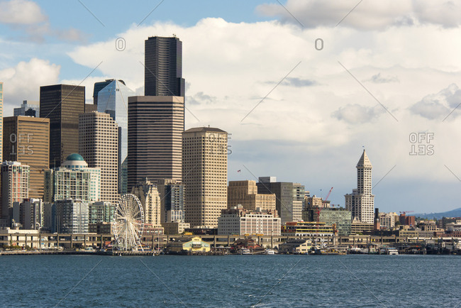 USA, North America, Washington - September 18, 2017: Seattle waterfront on brilliant day