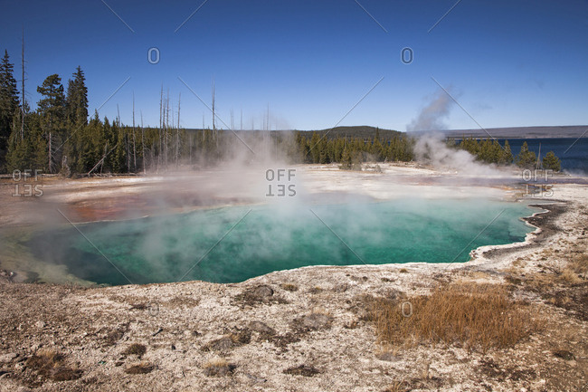 USA, Wyoming, Yellowstone National Park. Abyss Pool and walkway.