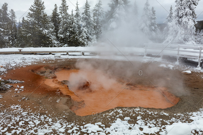 Red Spouter Fumarole in winter in Yellowstone National Park, Wyoming, USA
