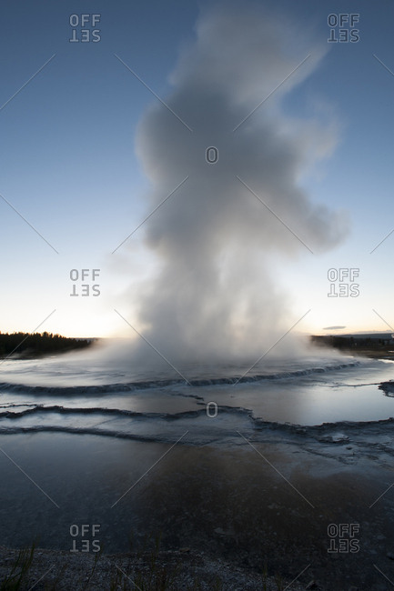 USA, Wyoming. Eruption of Fountain Geyser, Yellowstone National Park