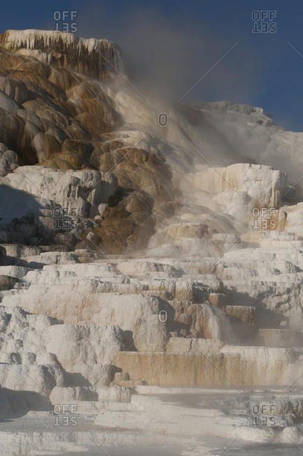 USA, Wyoming. Geothermal mineral deposit formations of Mammoth Hot Springs, Yellowstone National Park
