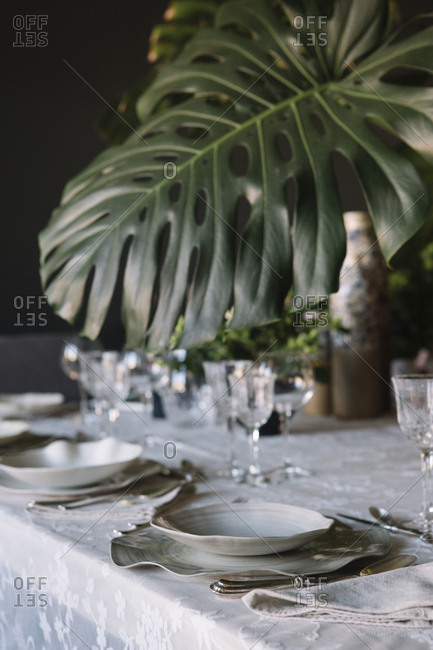 Place setting for a luxury brunch in Italy
