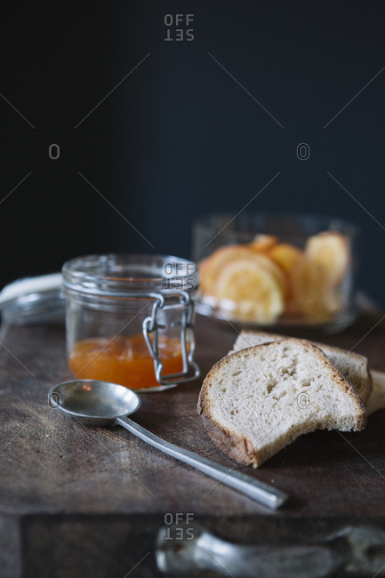 Bread and jam on the buffet of a luxury brunch