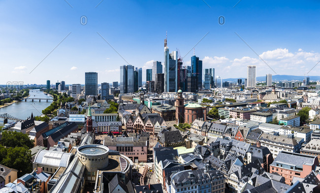 July 14, 2018: Germany- Hesse- Frankfurt- Skyline- financial district- old town- Roemer and Dom-Roemer Project