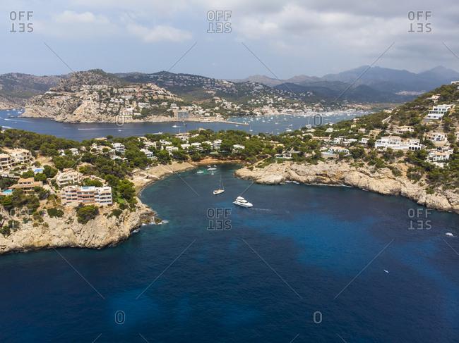 Spain- Mallorca- Aerial view of Cala LLamp and Cala Marmassen- villas