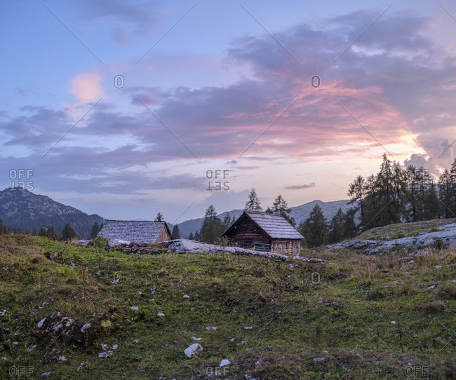 Austria- Ausseer Land- Wooden huts in the mountains