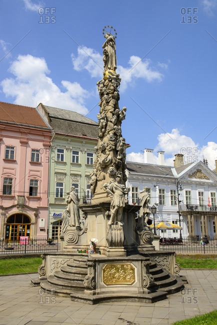June 4, 2018: Slovakia- Kosice- Old town- Plague Column