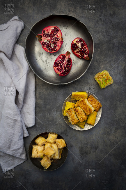Baklava- Shamiat and pomegranate in bowls- from above