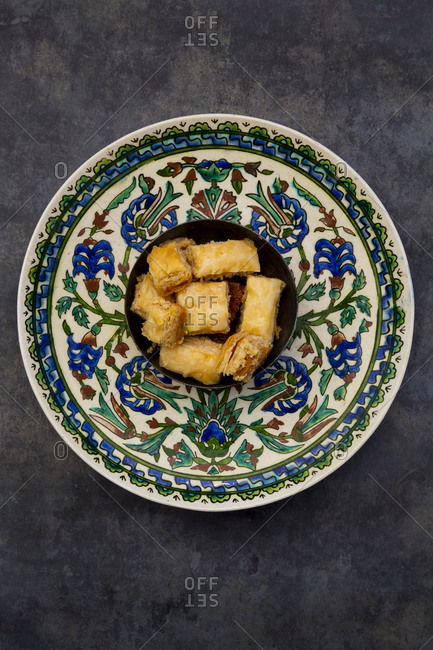Baklava in a bowl- on plate- from above