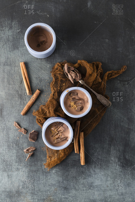 Chocolate pudding with cinnamon