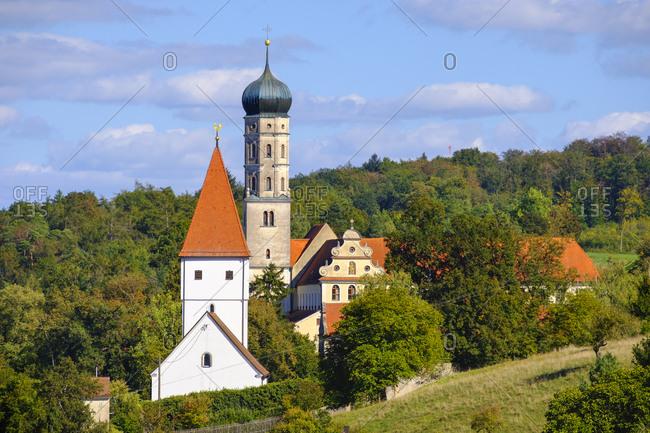 Germany- Bavaria- Swabia- Donau-Ries- Moenchsdeggingen- Abbey and St George's Church