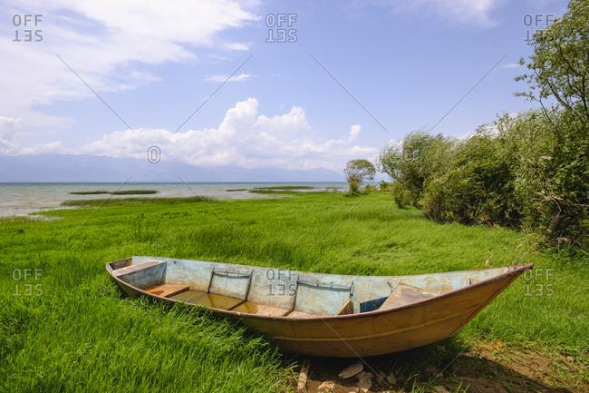 Albania- Shkoder- fishing boat- Lake Skadar lakeside
