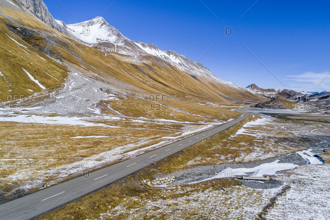 Switzerland- Grisons- Engadin- Albula Valley- Aerial view of Albula Pass road