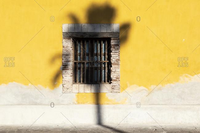 Palm tree shadow on Mission Nuestra Senora de Loreto, Baja California Sur, Mexico