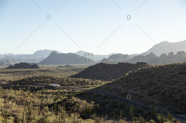 Truck on the Transpeninsular road to Mulege, Baja California Sur, Mexico