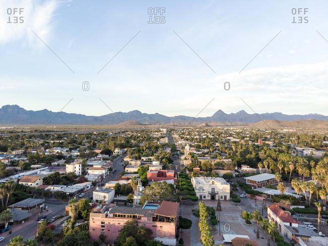 Baja California Sur, Mexico - December 10, 2018: Aerial view of Loreto, Baja California Sur, Mexico